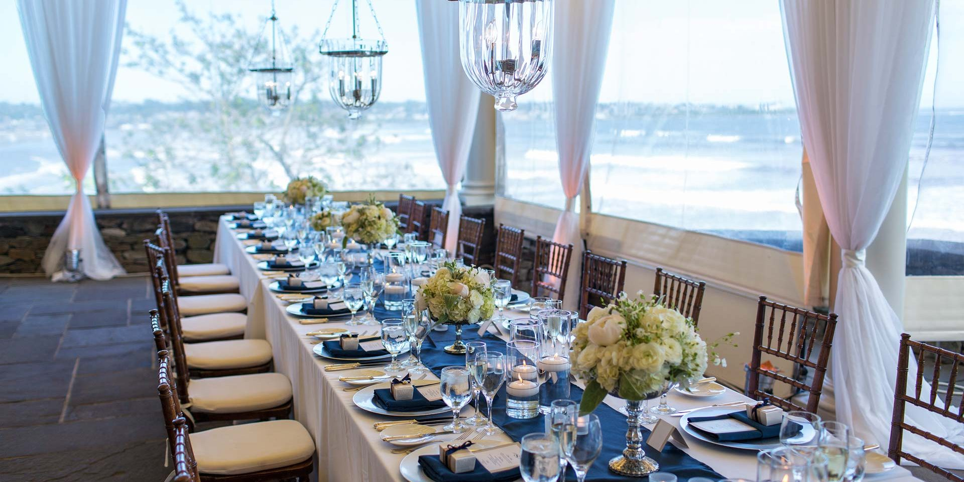 beautiful wedding on the terrace at the chanler at cliff walk