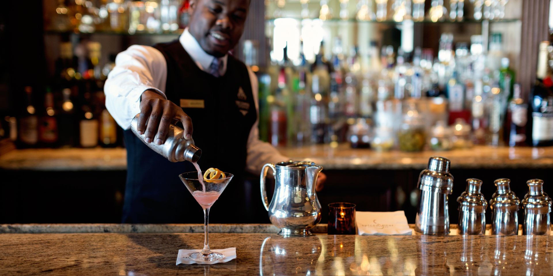 Maurice pouring a cocktail at The Chanler Bar