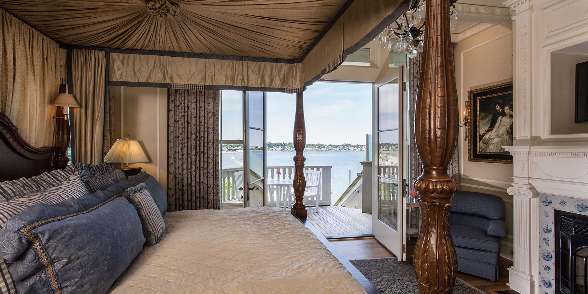 Bask in natural light and ocean breezes in your sand, sea, and sky-toned Martha's Vineyard Guest Room. Wake beside a glowing fireplace in a full-canopied four-poster king bed decorated with plush linens inside your private ocean villa