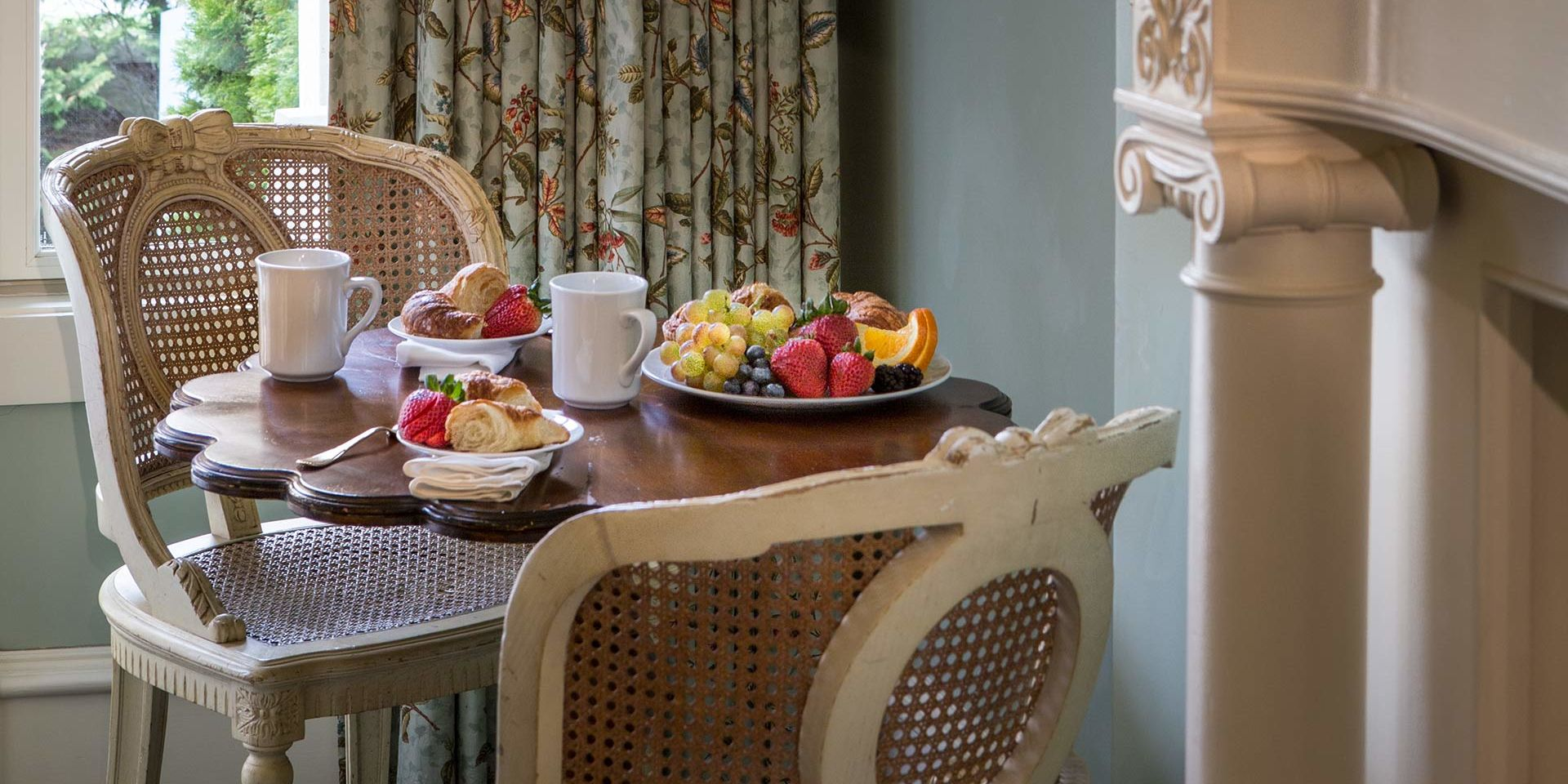 Enjoy a room service breakfast when you wake up inside the English Trellis Guest Room