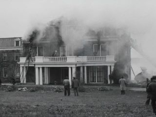 On October 28, 1944, while the structure was operating as an apartment building for Naval officers, a fire broke out on the third floor from an oil heater in the main section of the house, causing moderate damage to the third floor. After the damage from